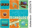 illustration of technology element with computer forming collage - stock photo