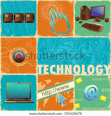 illustration of technology element with computer forming collage - stock vector