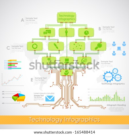 illustration of technology infographics with electronic chip tree - stock vector