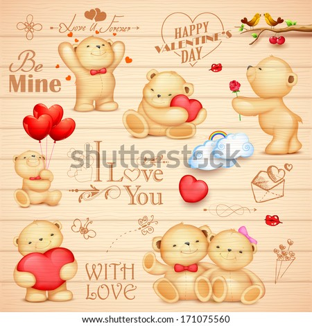 Teddy bear background stock images royalty free images vectors illustration of teddy bear in different pose for love background voltagebd Image collections