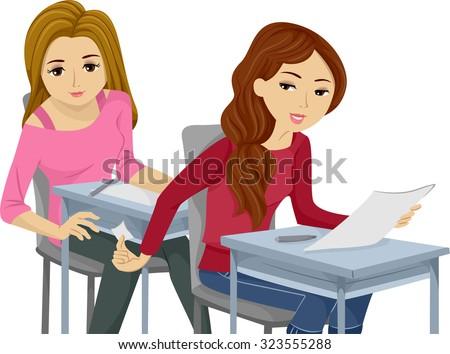 Illustration of Teenage Girls Cheating on an Exam - stock vector