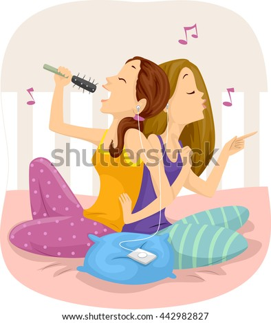 Illustration of Teenage Girls Listening to Music Together