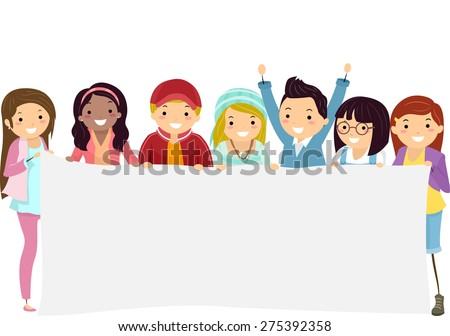 Illustration of Teenage Students Holding a Blank Banner - stock vector