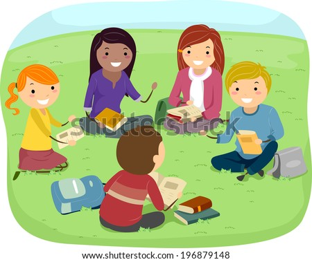 Illustration of Teenagers Having a Discussion in the Park