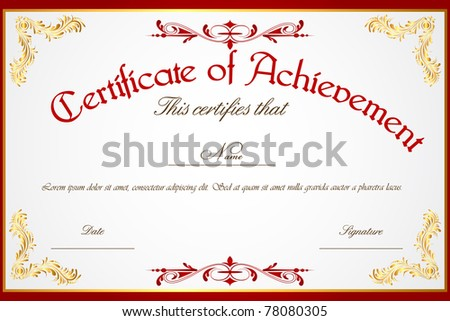 template for certificate of achievement