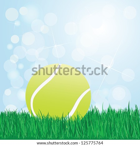 illustration of tennis ball on grass with sunshine and flare on background.