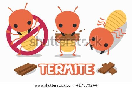 illustration of termite set - stock vector