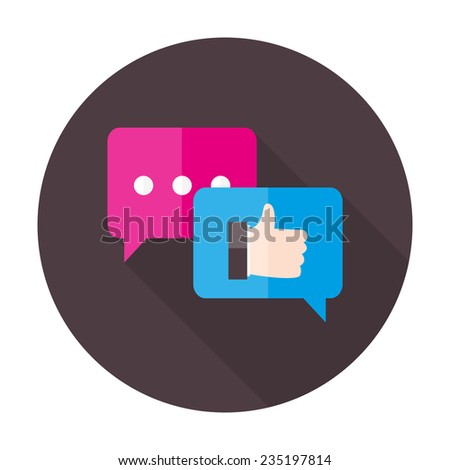 Illustration of Testimonials Flat Circle Icon - stock vector