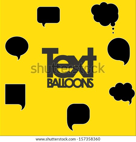 illustration of text balloons over yellow background vector illustration - stock vector