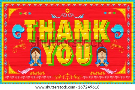 illustration of Thank You Poster India truck paint style - stock vector