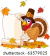 Illustration of Thanksgiving turkey holding scroll. With falling leaves - stock vector