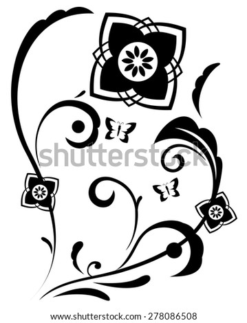Illustration of the abstract fantasy flowers black silhouette on white background - stock vector