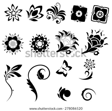 Illustration of the abstract fantasy flowers set - stock vector