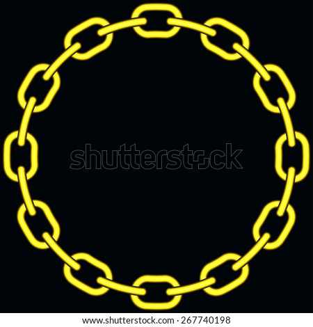 Illustration of the abstract gold chain on black background - stock vector