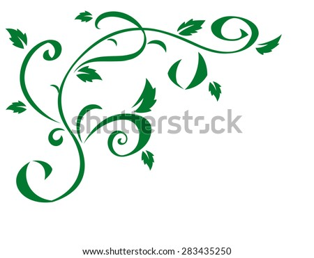 Illustration of the abstract green floral element for design - stock vector