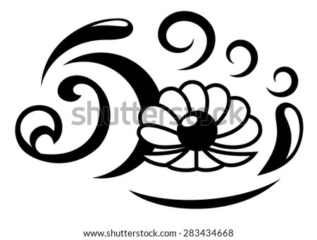 Illustration of the abstract oyster with pearl  black silhouette on white background - stock vector