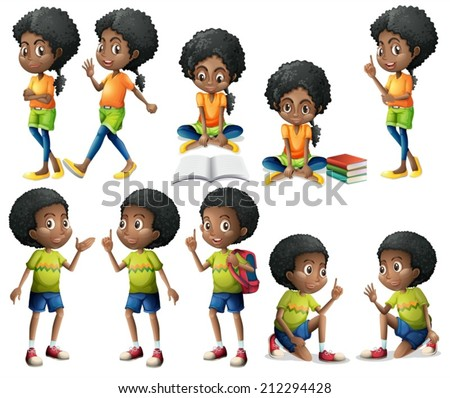 Illustration of the African-American kids on a white background - stock vector