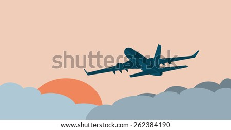 illustration of the aircraft, flying peacefully at dawn