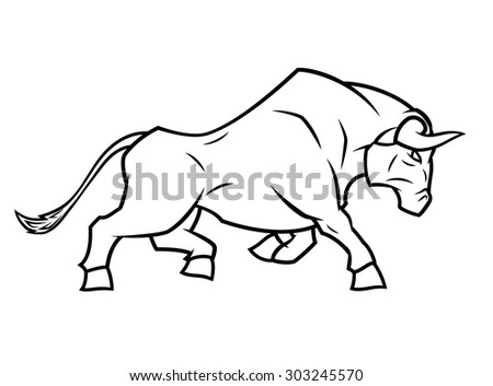 Illustration of the angry bull running on white background - stock vector