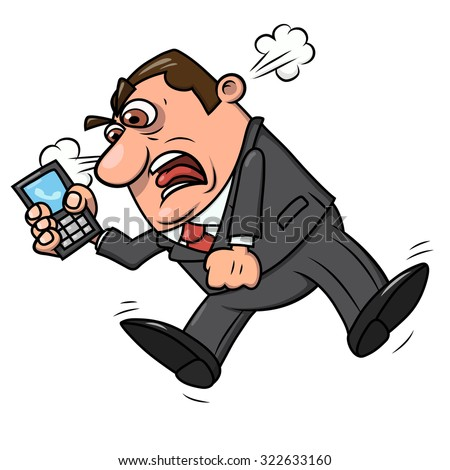 Illustration of the angry businessman screaming on cell phone - stock vector