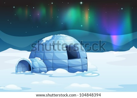 Illustration of the aurora borealis over an igloo - stock vector