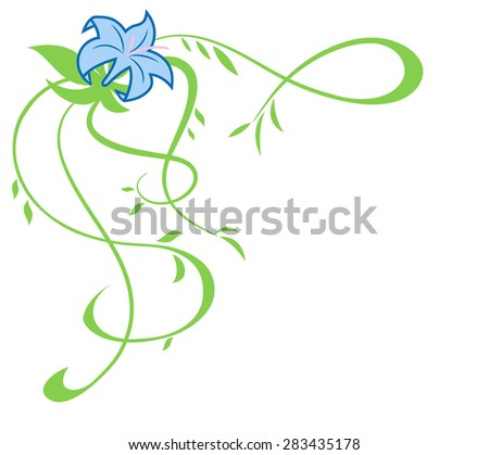 Illustration of the beautiful blue lily flowers on white background - stock vector