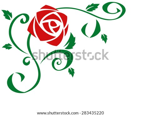 Illustration of the beautiful red rose flowers on white background - stock vector