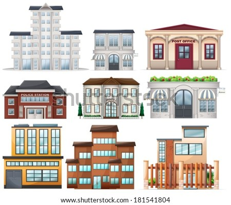Illustration of the big buildings on a white background - stock vector