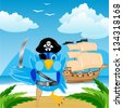 Illustration of the bird of the pirate ashore island in tropic - stock vector