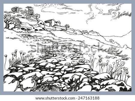Illustration of the black and white design of the old city. Sketch, hand drawn with ink. The road to the old city Chufut-Kale,Crimea - stock vector