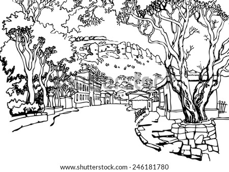 Illustration of the black and white design of the old city. Sketch, hand drawn with ink.The view from the minaret.Vector illustration. - stock vector