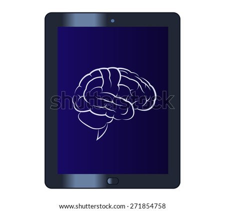 Illustration of the brain on the tablet computer - stock vector