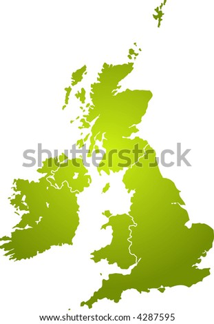 Illustration of the british isles in different shades of green isolated from the background