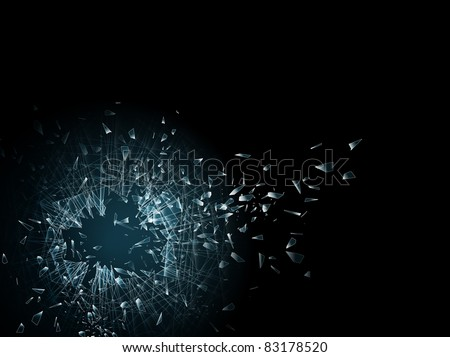 illustration of the broken glass and hole in it, copyspace for your text - stock vector