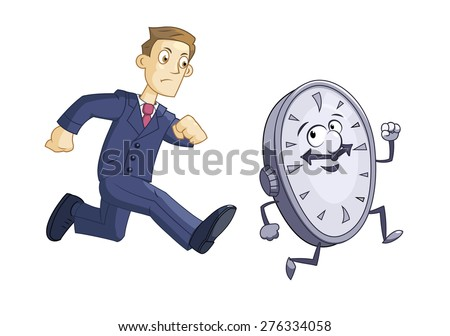 Illustration of the businessman chasing time - stock vector