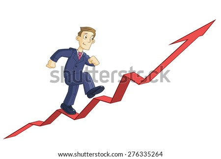 Illustration of the businessman climbing up the business graph - stock vector