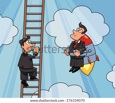 Illustration of the businessman flying up to success by jet pack while another one is climbing by the ladder - stock vector