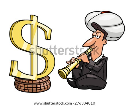 Illustration of the businessman playing the flute like Indian yogi to hypnotize dollar sing - stock vector