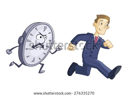 Illustration of the businessman running against time - stock vector