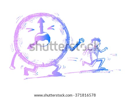 Illustration of the businessman running against time. Sketchy style. - stock vector