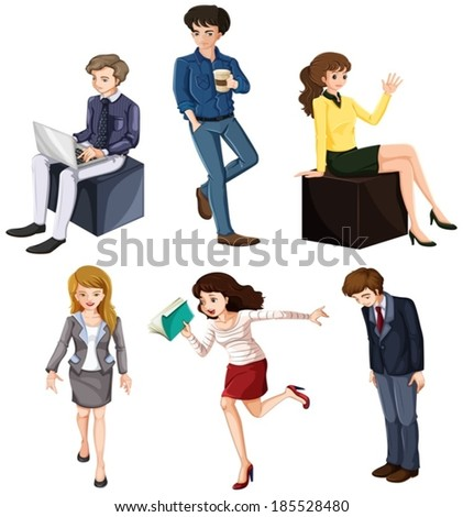 Illustration of the businessminded individuals on a white background - stock vector