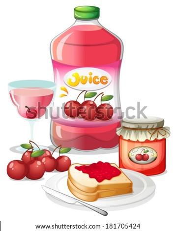 Illustration of the cherry fruits and its uses on a white background - stock vector