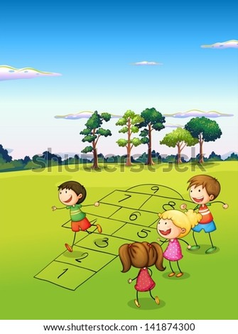 Illustration of the children playing in the field