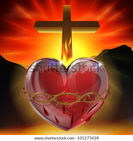 Illustration of the Christian symbol of the sacred heart. A heart shining with divine light with crown of thorns,  lance wound and flame representing divine love. - stock vector