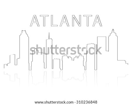 Illustration of the city skyline silhouette - Atlanta - stock vector