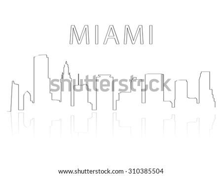 Illustration of the city skyline silhouette - Miami - stock vector