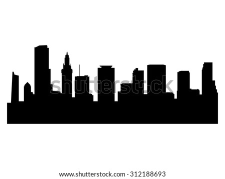 Illustration of the city skyline silhouette - Miami
