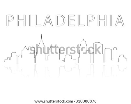 Illustration of the city skyline silhouette - Philadelphia - stock vector