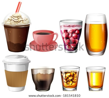 Illustration of the coffee and cocktail drinks on a white background - stock vector