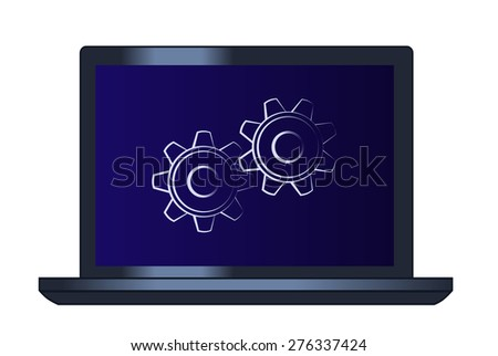 Illustration of the cogwheels on the laptop computer - stock vector